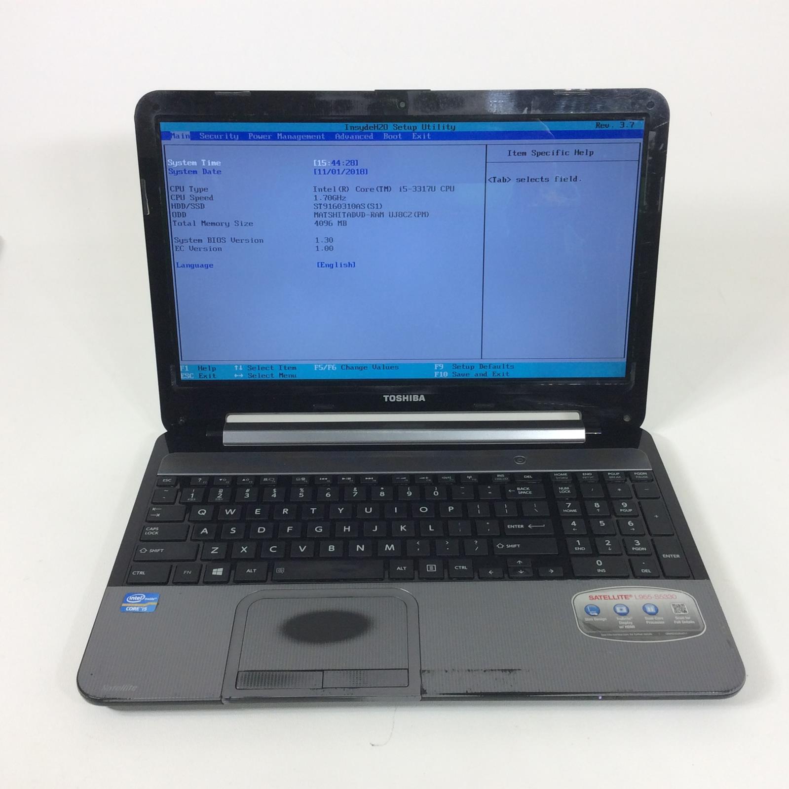 TOSHIBA SATELLITE L955-S5330 Intel Core i5-3317U 1.7GHz 160GB 4GB